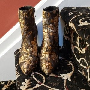 Jessica Simpson gold embroidered boots
